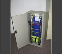 Evacu - Trac is stored in steel storage cabinet